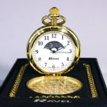 Pocket Watch, Moon Dial Personalised Engraved ref PWMG